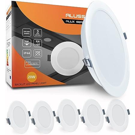 Lot de 6 LED Spots Encastrables Extra Plat IP44 20W 1800lm Spots de Plafond Blanc Froid 6400K Lampe Plafonnier pour Salle de Bain, 222 mm de Diamètre