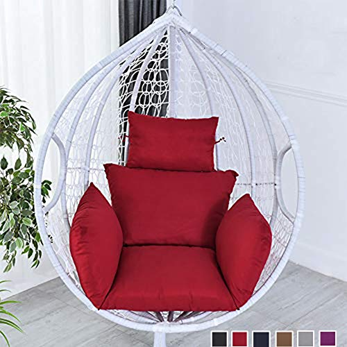 wide smile Hanging Basket Chair Cushion Egg Swing Chair Cushions Hammock Chair Cushions Thick Nest Back Pillow for Indoor Outdoor Patio Yard Garden Beach Office Red(No Chair)