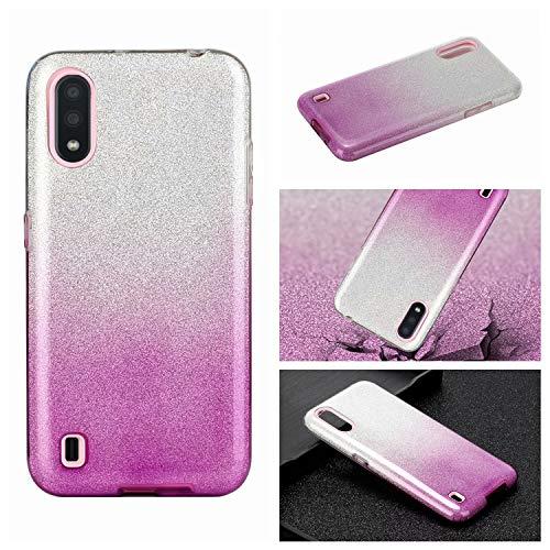 Nadoli für Samsung Galaxy A01 Gradient Glitzer Hülle,3 Schicht Glänzende Stoßfest Silikon Stoßdämpfung Transparent Hart Hybride Dünn Glitzer Schutzhülle Handyhülle