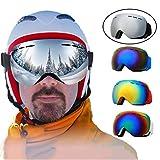 FINGER TEN Occhiali da Sci Uomo Donna Doppia Lente per Portatori di Occhiali Antinebbia Alpina Snowboard Occhiali Protezione UV al 100% Vento (Black Frame Silver Lens)
