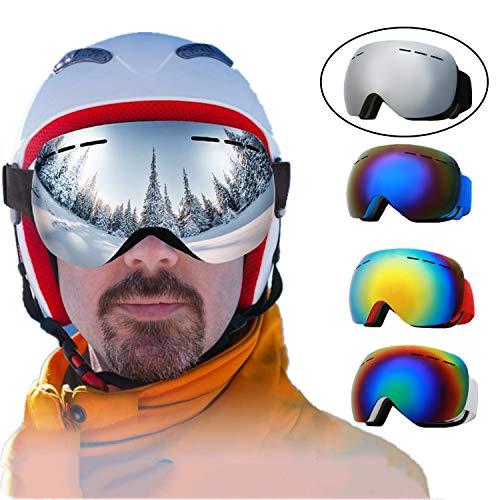 Skibrille Herren Damen Jugendliche Snowboardbrille Schneebrille Doppel-Objektiv Zweischichtiger Anti-Fog 100{186f60ebc3b388cc73b5e1d77595ce6ea25522c2f27a008a179fdf2e86b70c5a} UV-Schutz Für Brillenträger Verspiegelt Schutzbrillen (Black Frame Silver Lens)