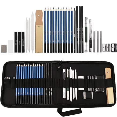 Skizzierstifte Set Bleistifte für Skizzieren und Zeichnen Profi Art Set mit Graphitkohlestifte Sticks Werkzeuge und Kit Bag, Zeichnung Bleistifte Werkzeug, geeignet für Künstler, Student, Lehrer