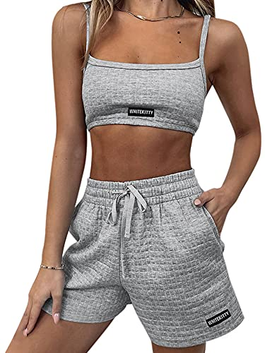 Traje de verano transpirable para mujer, estilo simple, color sólido, sexy, sin mangas, Midriff-Baring camisola + pantalones cortos, juego de 2 piezas, gris, L