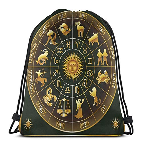 Odelia Palmer Mochilas Estampadas con cordón, Signos de astrología del zodíaco de Rueda en círculo con Imagen de Sol y Luna en círculo, Cierre de Cuerda Ajustable