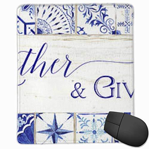 Gaming Mouse Pad, personalisierte benutzerdefinierte Maus Padnon-Slip Rubber Gaming Mouse Pad, bleiben Sie positiv Arbeiten Sie hart und machen Sie es möglich Bauernhaus-blau-weiß-Fliesen-7-sammeln-zu