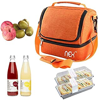 RZChome Lunch Bag Double Cooler Carry Bag Insulated Tote Large Capacity with Adjustable Shoulder Strap and Zip Closure Travel Lunch Tote(Orange), Suitable for Office Work Picnic Hiking Beach