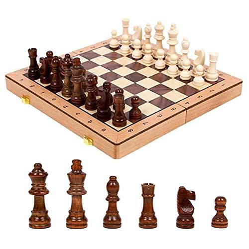 RUIXINLI Conjunto de ajedrez clásico Conjunto de ajedrez magnético Tablero Plegable Plegable con Almacenamiento International Chess Game Board para Sala de Estar, Campo, Oficina.