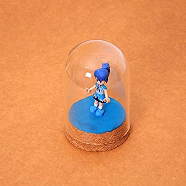 """Backbayia 4 Pieces 2.56""""x3.94"""" Mini Glass Dome Decorative Bell Jar Display Dome with Cork Base for Home Decoration"""