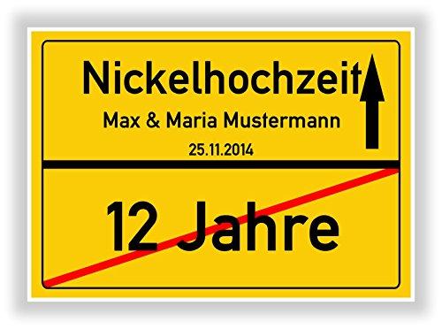 Unbekannt Geschenkidee zur Nickelhochzeit - 12 Jahre verheiratet - Nickel Hochzeit - Ortsschild Bild Geschenk zum Hochzeitstag - Jubiläum mit Namen und Datum