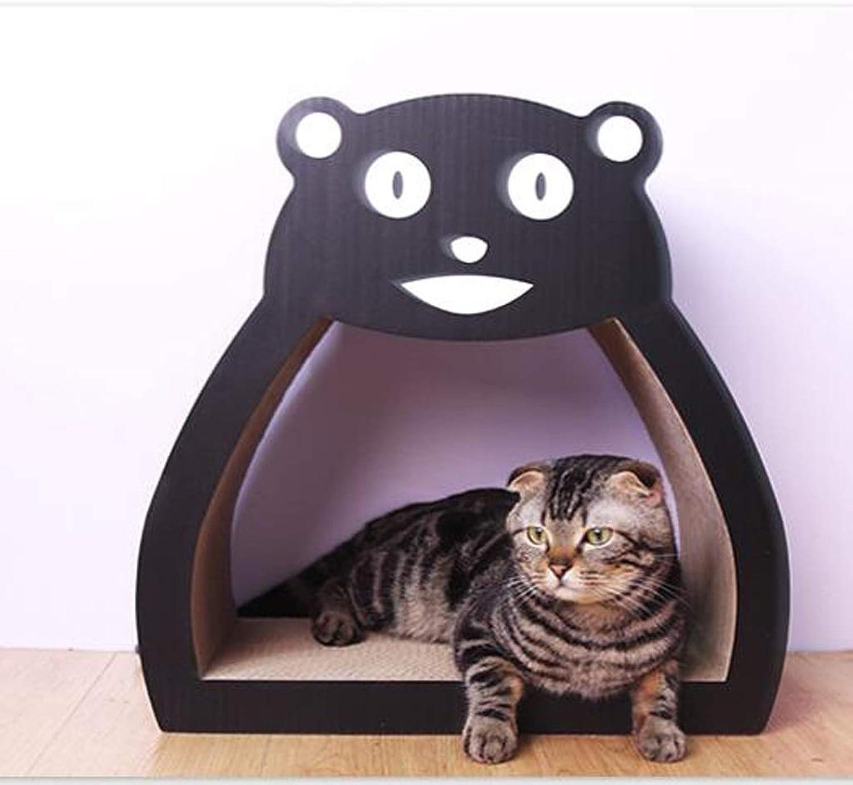 KGMYGS Cat Scratch Board Cat Sofa Cat Toy Three In One, Corrugated Material, Black, Cute Bear Shape Pet bed