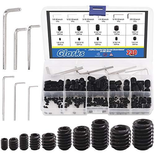 Glarks 230Pcs 10 Size 3/8x1/2''-1/8x3/16'' Internal Hex Allen Head Socket Set Screw, 12.9 Class Black Alloy Steel Hex Grub Screws Assortment Kit with 6Pcs Hex Wrenches