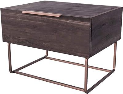 Benjara 1 Drawer Wooden Nightstand with Rectangular Steel Frame Support, Brown