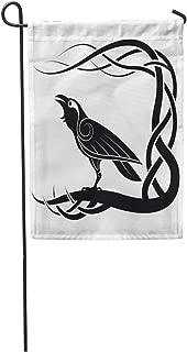 Semtomn Garden Flag Celtic Pagan Raven Crow Mythology Animals Bird Black Knot Pattern Home Yard House Decor Barnner Outdoor Stand 12x18 Inches Flag