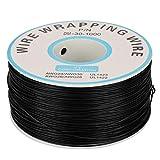 1Roll 30AWG Cable de Extensión de Cable Eléctrico de Silicona Cable de 200 MetrosHilo de Alambre de Cobre Simple Diámetro del Núcleo de 0.25 mm(Negro)