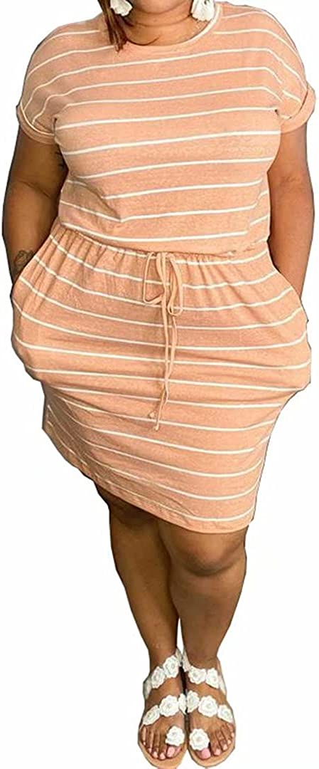 IyMoo Women's Plus Size 2021 Casual Short Sleeve Party Bodycon Sheath Belted Dress with Pockets