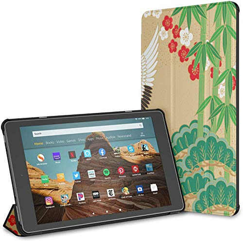 Kindle Case Pu Leather Smart Cover Cranes Pine Bamboo Plum Japanese Style Kindle Fire 10 Cover Kindle Fire Hd 10 Inch Tablet Case(9th Gen 2019/7th Gen 2017) with Auto Wake/Sleep