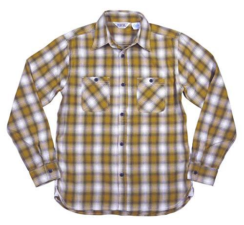 [ファイブブラザー]オンブレチェックマチ付長袖ライトネルシャツ152000LMUSTARD(マスタードオンブレ)