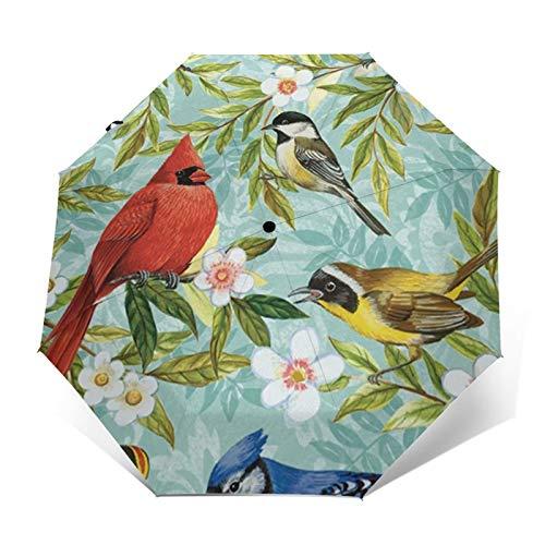 Paraguas automático de triple pliegue colorido pájaro con flor de primavera, protector solar impermeable resistente al viento, paraguas plegable para hombre y mujer al aire libre