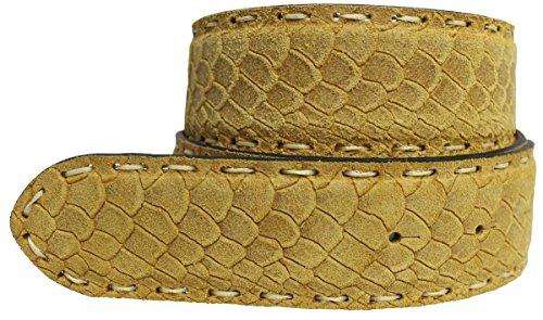 Brazil Lederwaren Wechselgürtel mit Pythonprägung ohne Schnalle 4 cm | Druckknopf-Gürtel für Damen Herren 40mm Schlangen-Optik 4cm | Gelb 100cm