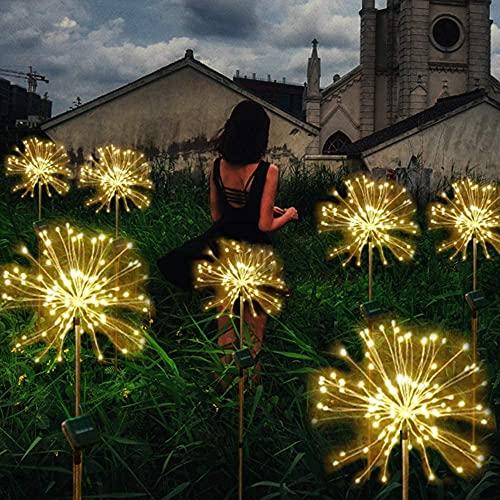 Justn - Luces solares de jardín con 120 luces LED con estacas de madera para paisajes, fuegos artificiales, estrellas, patios, caminos, bodas, fiestas, 2 unidades