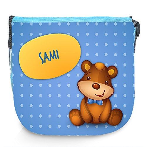 Umhängetasche für Kinder mit Namen Sami und schönem Motiv mit Bär | Schultertasche für Jungen