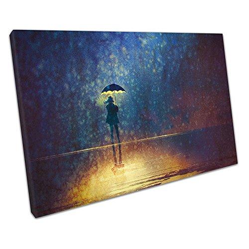 Kunstdruck auf Leinwand Lonely Frau unter Regenschirm Lights in the Dark, 30 x 20 x Depth 2cm