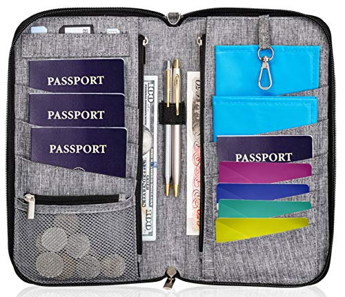 Valante Premium Family Travel Document Organizer Capacious RFID Passport Holder Wallet (Large)