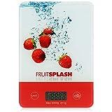 COM-FOUR® Balanza de cocina - Balanza digital de cocina - Balanza doméstica con diseño de frutas - Balanza digital para la cocina y el hogar - hasta 5 kg (1 pieza - rojo)