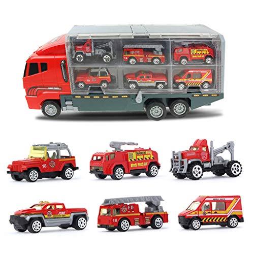 WE-KELLOKITY 1 juego de mini aleación + plástico de policía bomberos de vehículos de ingeniería, coche camión modelo educativo para niños
