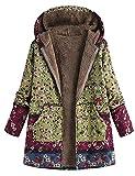 Blivener Parka para mujer, invierno, cálida, gruesa, para exterior, chaqueta con estampado de flores, con capucha, bolsillos, vintage A verde. XXXXL