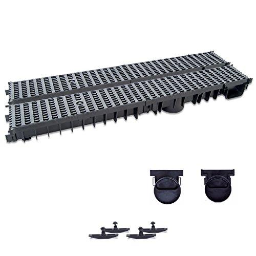 ZMMMAXPOL 2m Entwässerungsrinne mit Dichtung Belastungsklasse B125. Stegrost Kunststoff Schwarz. Tiefe: 100mm