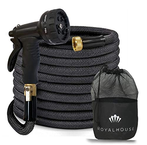 """50FT Black Expandable Garden Hose Water Hose with 9-Function High-Pressure Spray Nozzle, Heavy Duty Flexible Hose - 3/4"""" Solid Brass Fittings Leak Proof Design"""