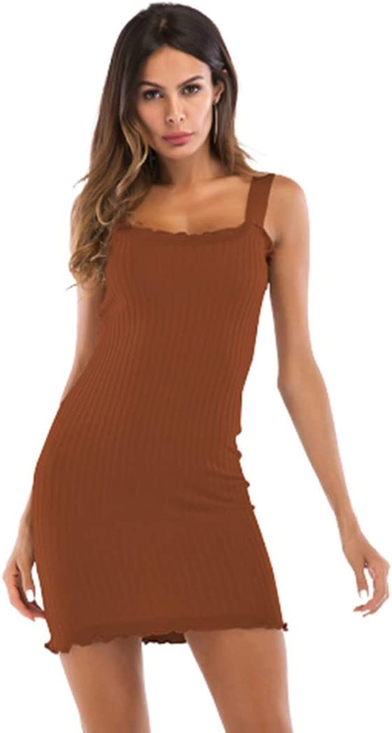 Womens Clothing Summer Slim Package Hip Solid Color Suspender Dress for Women Womens Clothing (Color : Khaki, Size : M)