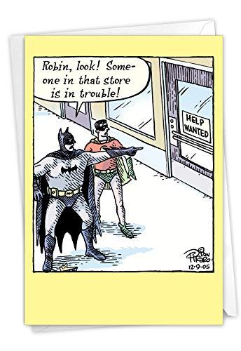 NobleWorks - Superhero Birthday Card with Envelope - Funny Bday Greeting Card - Help Wanted Superhero 4684