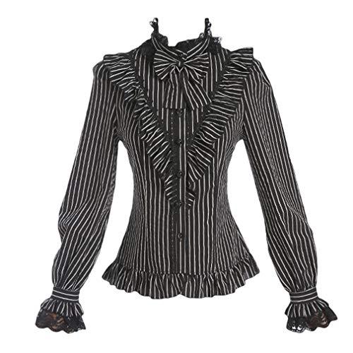 Damen Gothic Retro Streifen Bluse - Viktorianischen Stil Langarm Steampunk Lolita Bluse Spitze Shirt Slim Hemd Casual Oberteil S-XL