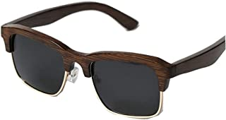 LUKEEXIN Cool Wooden Semi-Rimless Sunglasses for Men Handmade Square Bamboo Sunglasses UV Protection Sunglasses Driving Sunglasses Beach Sunglasses (Color : Brown)