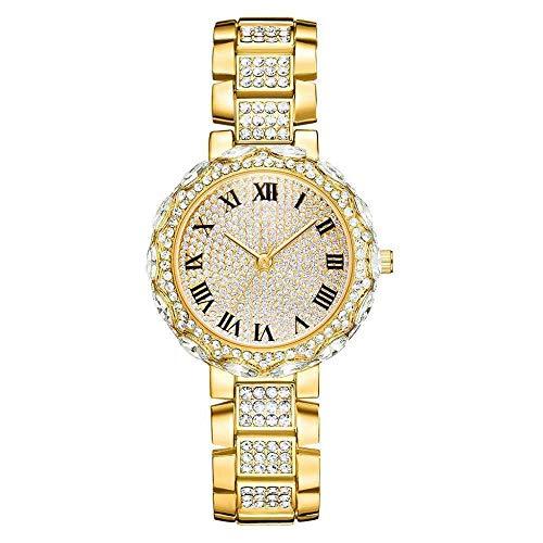 Powzz - Reloj de pulsera de cuarzo para mujer, correa de acero, diseño de diamante, color dorado