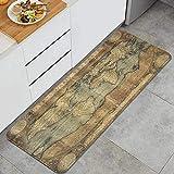 KASMILN Alfombra de cocinaMural Antiguo Mapa de la civilización del Vintage del gráfico Antiguo del mundoAlfombras y tapetes de Cocina Impermeables Antideslizantes Gruesos, (45*120cm