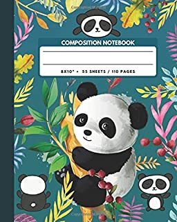Composition Notebook: Giant Panda Climbing Bamboo Trees - Zoo Animals Exercise Book & Journal , Back To School Gifts For Teens Girls Boys Kids Friends Students 8x10