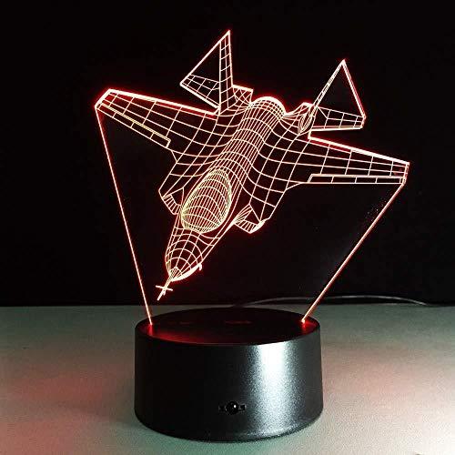 3D Ilusión óptica Lámpara LED Lámparas de decoración Jet de acorazado de serie para hombres, mujeres, niños, niñas, regalo Con carga USB, control táctil de cambio de color colorido