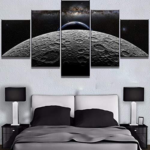 WZYWLH 5 Unidades HD Imprimir Gran Luna Tierra Cielo Espacio Cuadros Decoracion Pinturas sobre Lienzo Arte de la Pared para el Hogar Decoraciones Decoración de la Pared