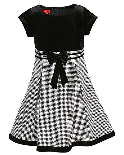 La-V Festliches Mädchenkleid mit Mini-Hahnentrittdesign schwarz/Größe 98