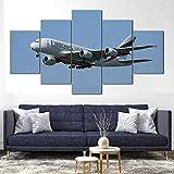 SGDJ Cuadro en Lienzo Vuelos Emirates Airbus A380 150x80cm - XXL Impresión Material Tejido no Tejido Artística Imagen Gráfica Decoracion de Pared - 5 Piezas - Listo para Colgar