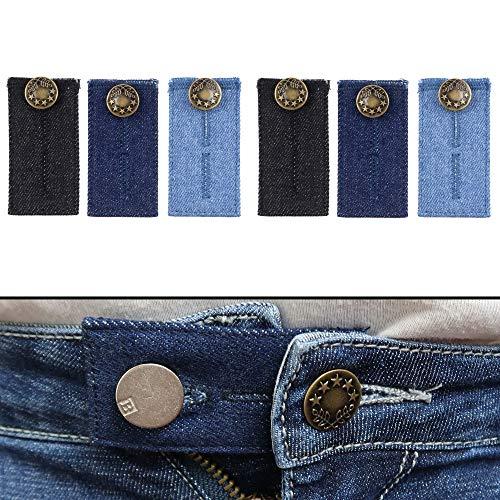 Extensor de Cintura para Jeans, Pantalones, vestidos y faldas, Juego de 6, Alargador Pantalones hasta 5 cm, Extensión de Cintura para Pantalones, Botón de extensión ajustable para Pantalones