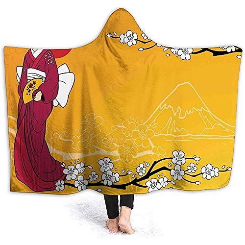 L.R.D Umhang mit Kapuze Wearable Cuddle Fleece Blanket, Geisha Woman und Sakura Trees in den Ausläufern von Fuji 50