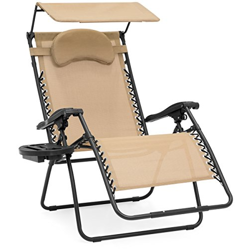 Best Choice Products Oversized Steel Mesh Zero Gravity Reclining Lounge Patio Chair w/Folding Canopy Shade and Cup Holder, Tan