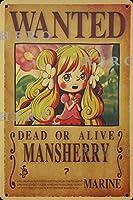 海賊アニメMansherryマンシェリー さびた錫のサインヴィンテージアルミニウムプラークアートポスター装飾面白い鉄の絵の個性安全標識警告バースクールカフェガレージの寝室に適しています