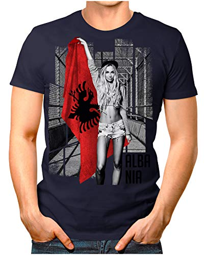 OM3® - Albania-Soccer-Girl - Herren T-Shirt EM 2020 Fußball Trikot Sexy Frau Albanien Vintage Navy XL