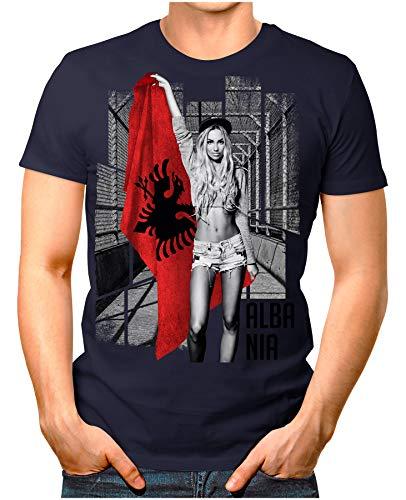 OM3® - Albania-Soccer-Girl - Herren T-Shirt EM 2020 Fußball Trikot Sexy Frau Albanien Vintage Navy XXL