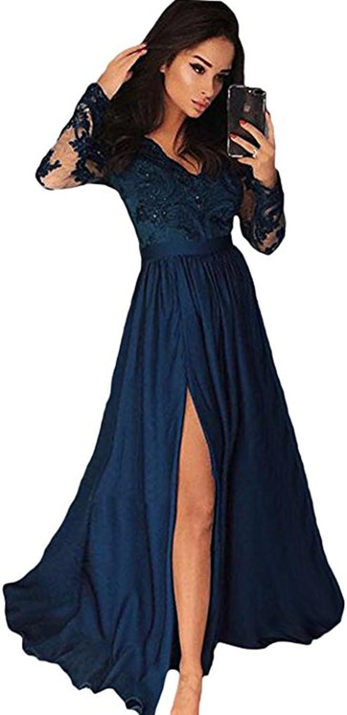 CCBubble Long Sleeves Prom Dresses 2018 Satin Lace Prom Dress